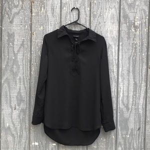 Black lace up collar blouse
